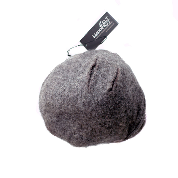 Simple Gray Gotland Wool Beret - top view