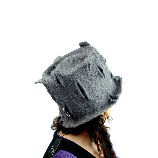 Gray Gotland Wool Felted Top Hat - back view