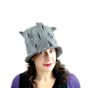 Gray Gotland Wool Felted Top Hat - front view