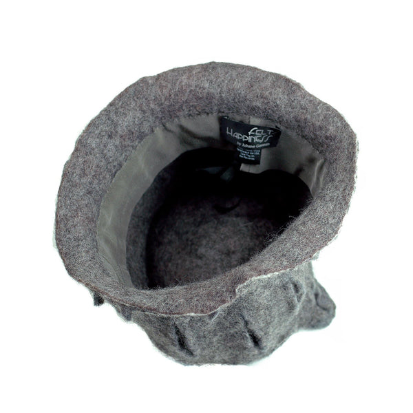 Gray Gotland Wool Felted Top Hat - inside view of hat