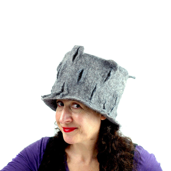 Gray Gotland Wool Felted Top Hat - side view 1