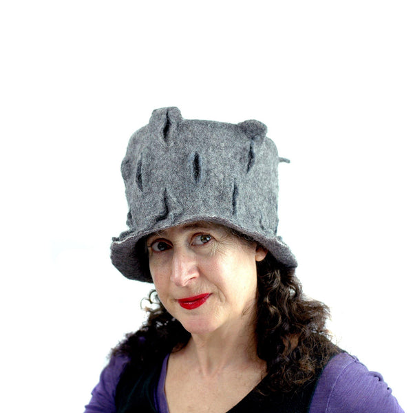 Gray Gotland Wool Felted Top Hat - side view 2