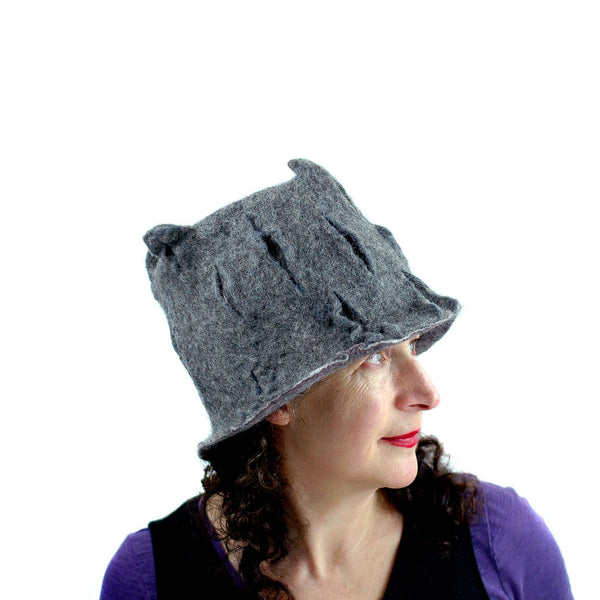 Gray Gotland Wool Felted Top Hat -side view 3