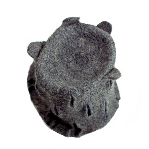 Gray Gotland Wool Felted Top Hat - topview of hat
