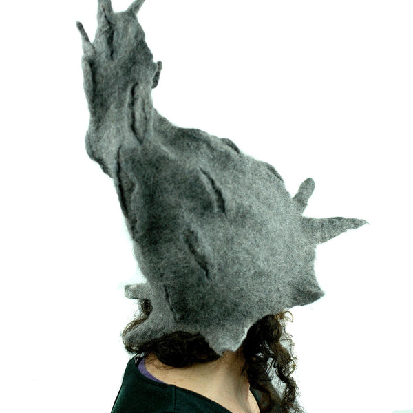 Gotland Wool Gray Wizard Felted Hat - back