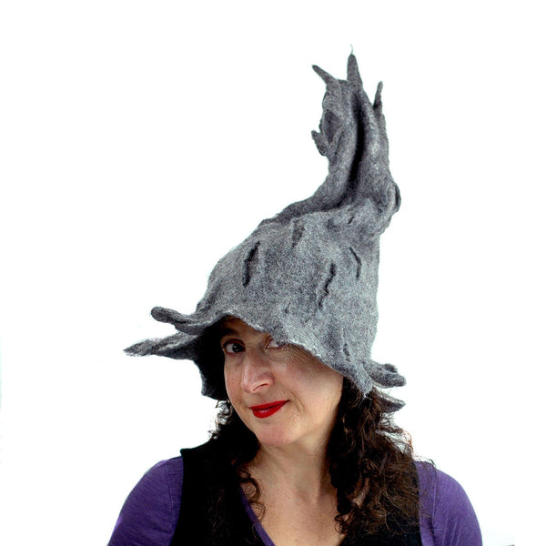 Gotland Wool Gray Wizard Felted Hat - 3/4 view