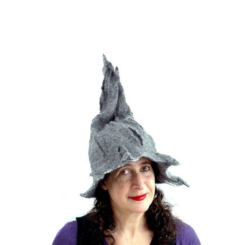 Gotland Wool Gray Wizard Felted Hat - front view