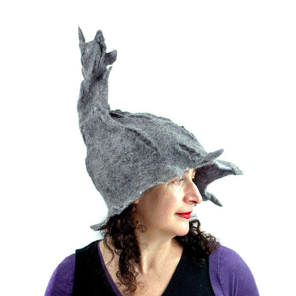 Gotland Wool Gray Wizard Felted Hat - side view 2