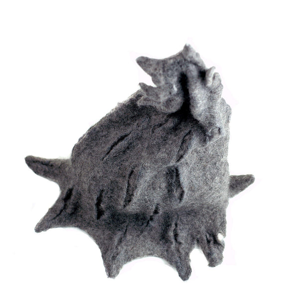 Gotland Wool Gray Wizard Felted Hat - top view