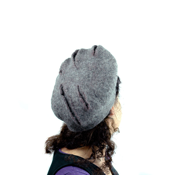 Gray Gotland Wool Felted Beret with Slashes -back view