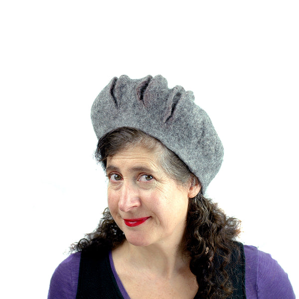 Gray Gotland Wool Felted Beret with Slashes - side view 2