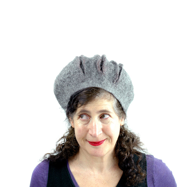 Gray Gotland Wool Felted Beret with Slashes - front view