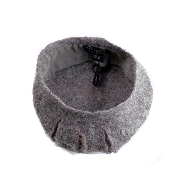 Gray Gotland Wool Felted Beret with Slashes - interior view