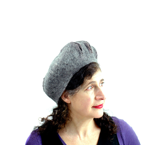 Gray Gotland Wool Felted Beret with Slashes - side view