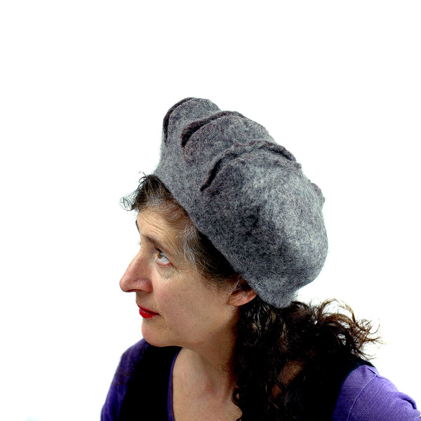 Gray Gotland Wool Felted Beret with Slashes - side view 3