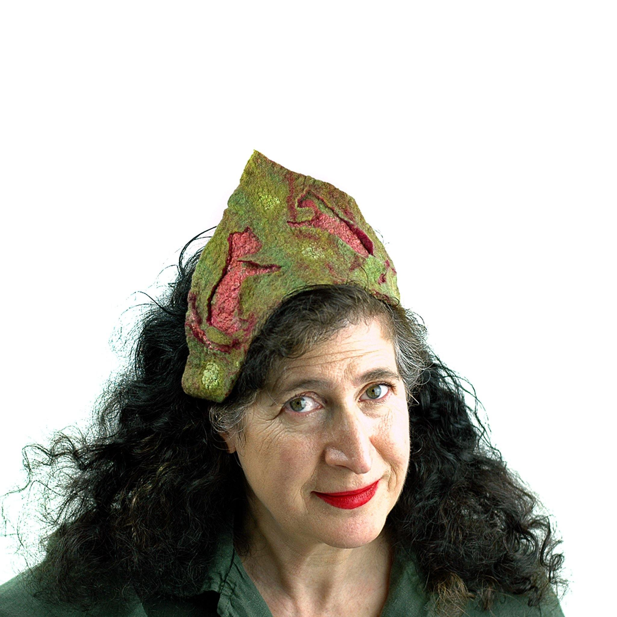 Olive Green Felted Tiara with Dancing Red Cats. FIts all Sizes.