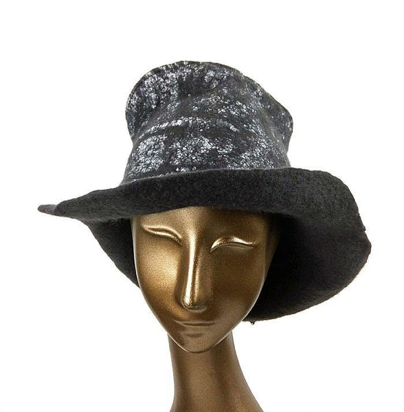 Black Nunofelted Western Style Hat - front view