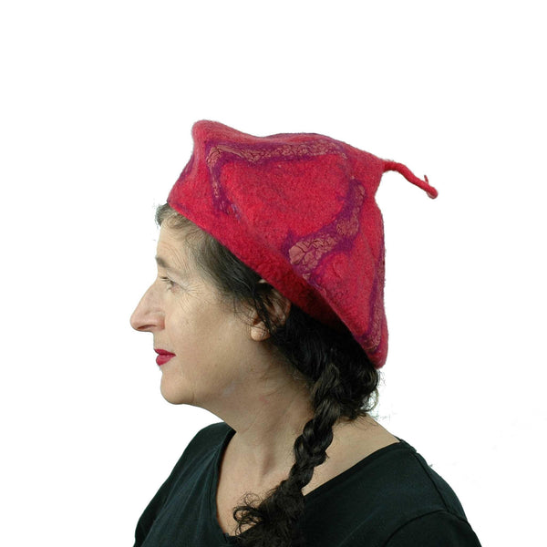 Nunofelted Raspberry Beret with Corkscrew - side view