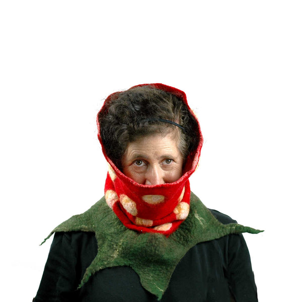 Nunofelted Strawberry Neck Warmer Headscarf - pulled up over ears.