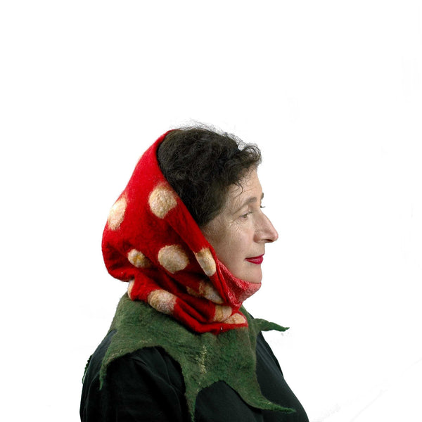 Nunofelted Strawberry Neck Warmer Headscarf  worn Babushka style