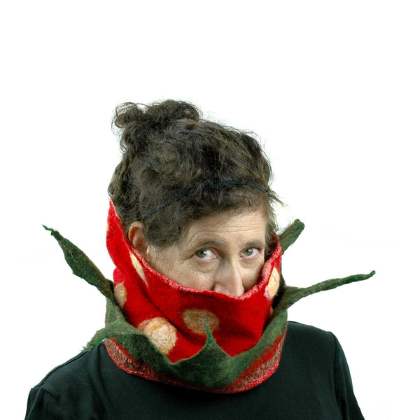 Nunofelted Strawberry Neck Warmer Headscarf - worn  around neck with leaves pointing upwards.
