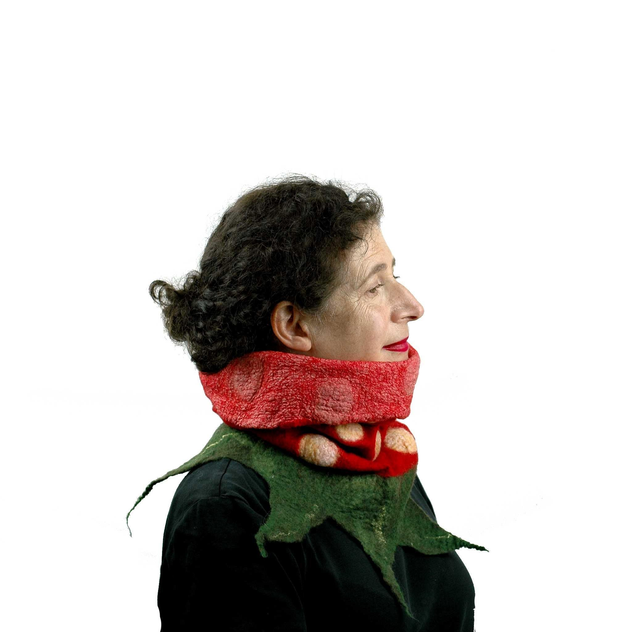 Nunofelted Strawberry Neck Warmer Headscarf - with top folded down.