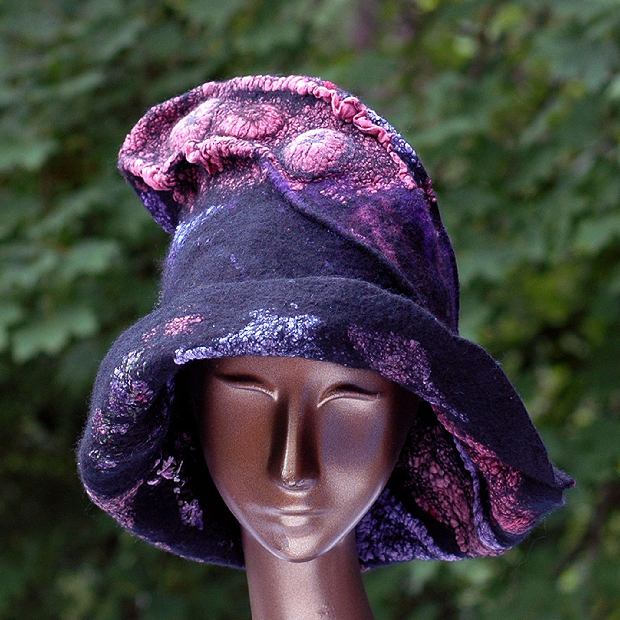 Nunofelted Black Hat with Purple and Pink Fabrics