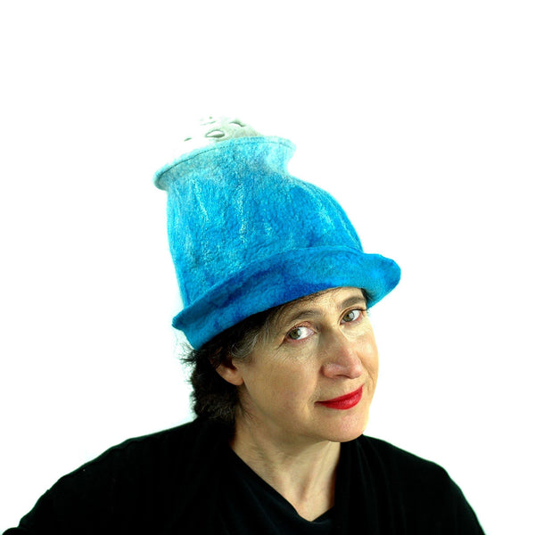 Ombre Turquoise and White Hat with 'Pom Pom' - front view