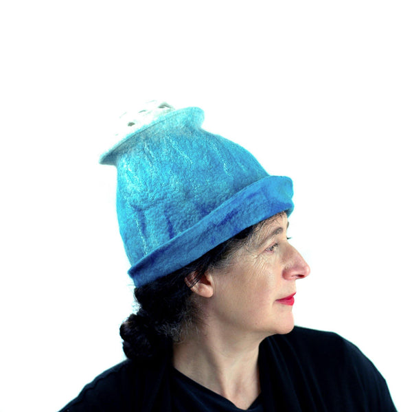 Ombre Turquoise and White Hat with 'Pom Pom' - right side view