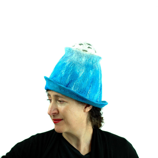 Ombre Turquoise and White Hat with 'Pom Pom' - left side view