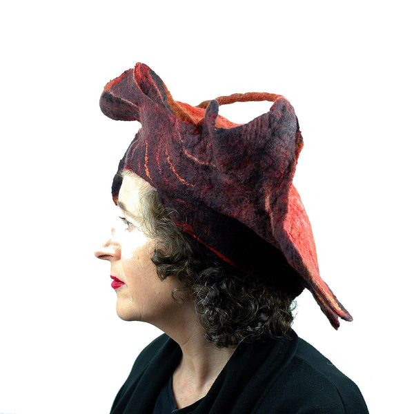Orange and Black Oakleaf Felted Hat - side view