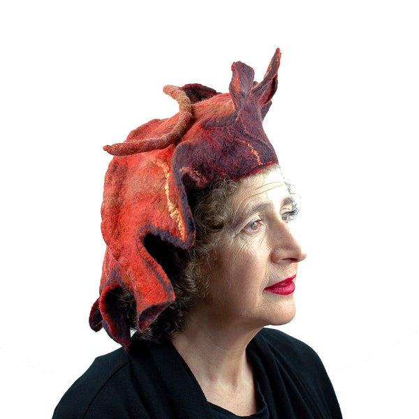 Orange and Black Oakleaf Felted Hat - three quarters view
