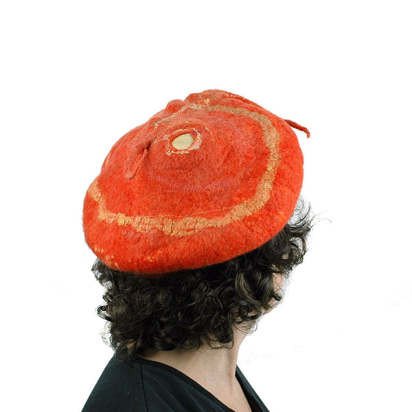 Orange Colored Beret with Felted Seed Pod - back view