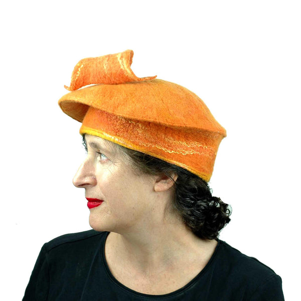 Orange Fishtail Beret Large Size