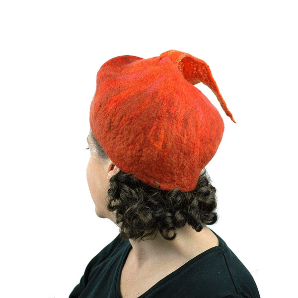 Orange Fishtail Felted Beret - back view
