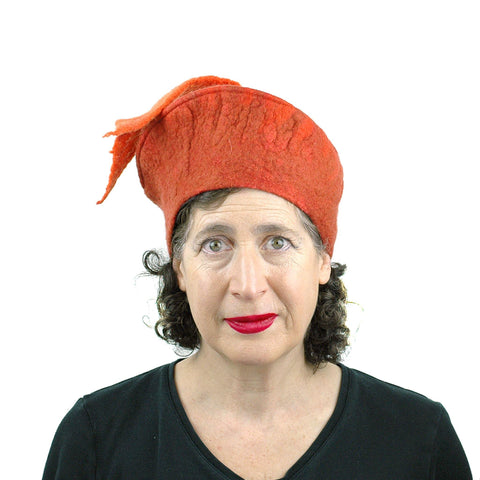 Orange Fishtail Felted Beret - front view