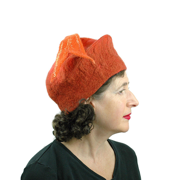 Orange Fishtail Felted Beret - side view