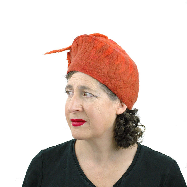 Orange Fishtail Felted Beret - threequarters view