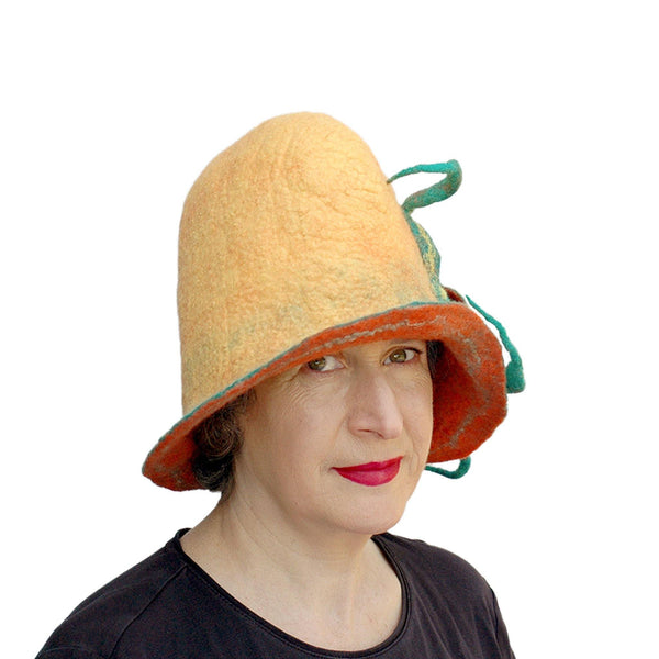 ~ Adopted ~ Oversized Yellow Orange and Green Hat with Rounded Top