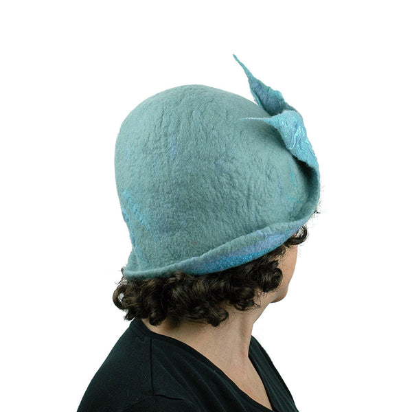 Pale Blue Felted Cloche with Fishtail - back view
