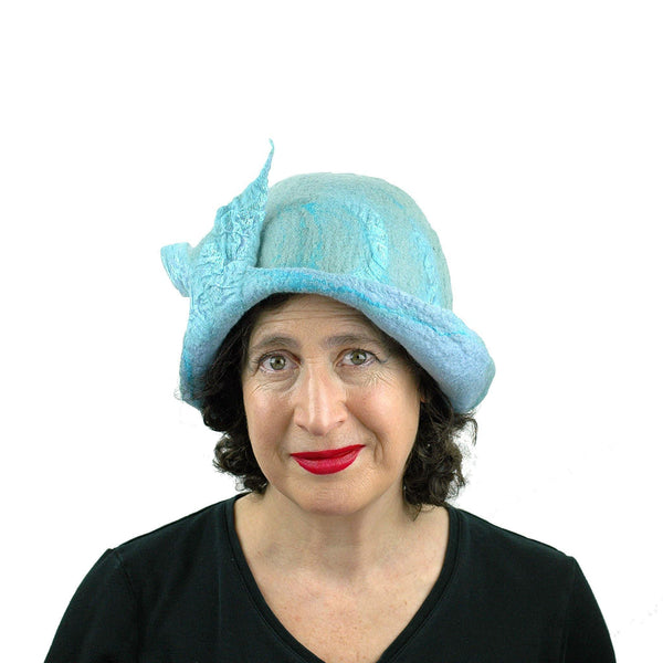 Pale Blue Felted Cloche with Fishtail - front view