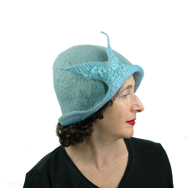 Pale Blue Felted Cloche with Fishtail - side view