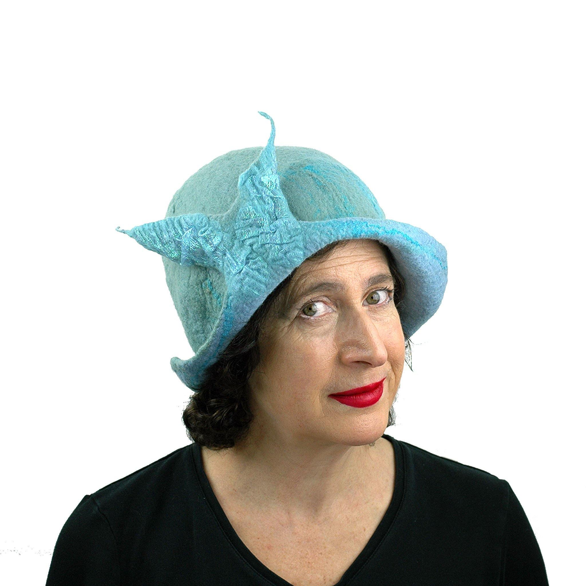 Pale Blue Felted Cloche with Fishtail - threequarters view