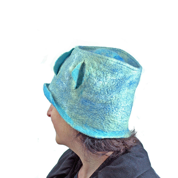 Pale Blue Green Top Hat - back view