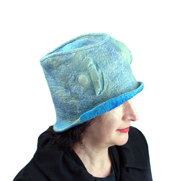 Pale Blue Green Top Hat - side view 2