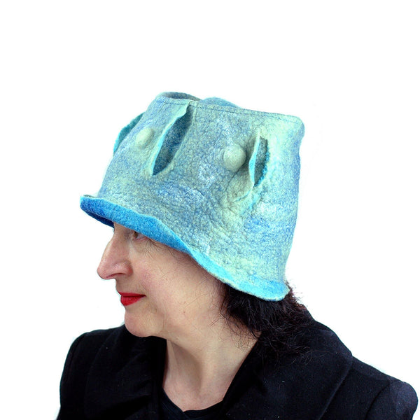 Pale Blue Green Top Hat - side view