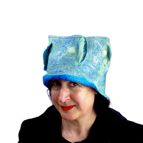 Pale Blue Green Top Hat - three quarters view