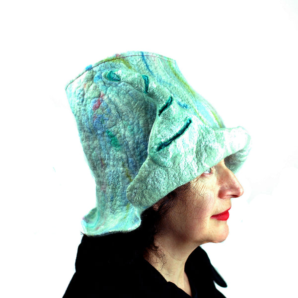 Pale Green Unicorn Fantasy Hat - side view
