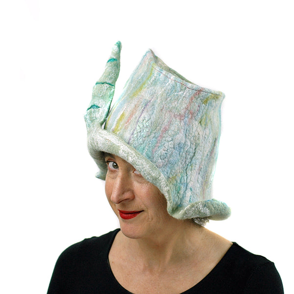 Pale Green Unicorn Fantasy Hat -three quarters view
