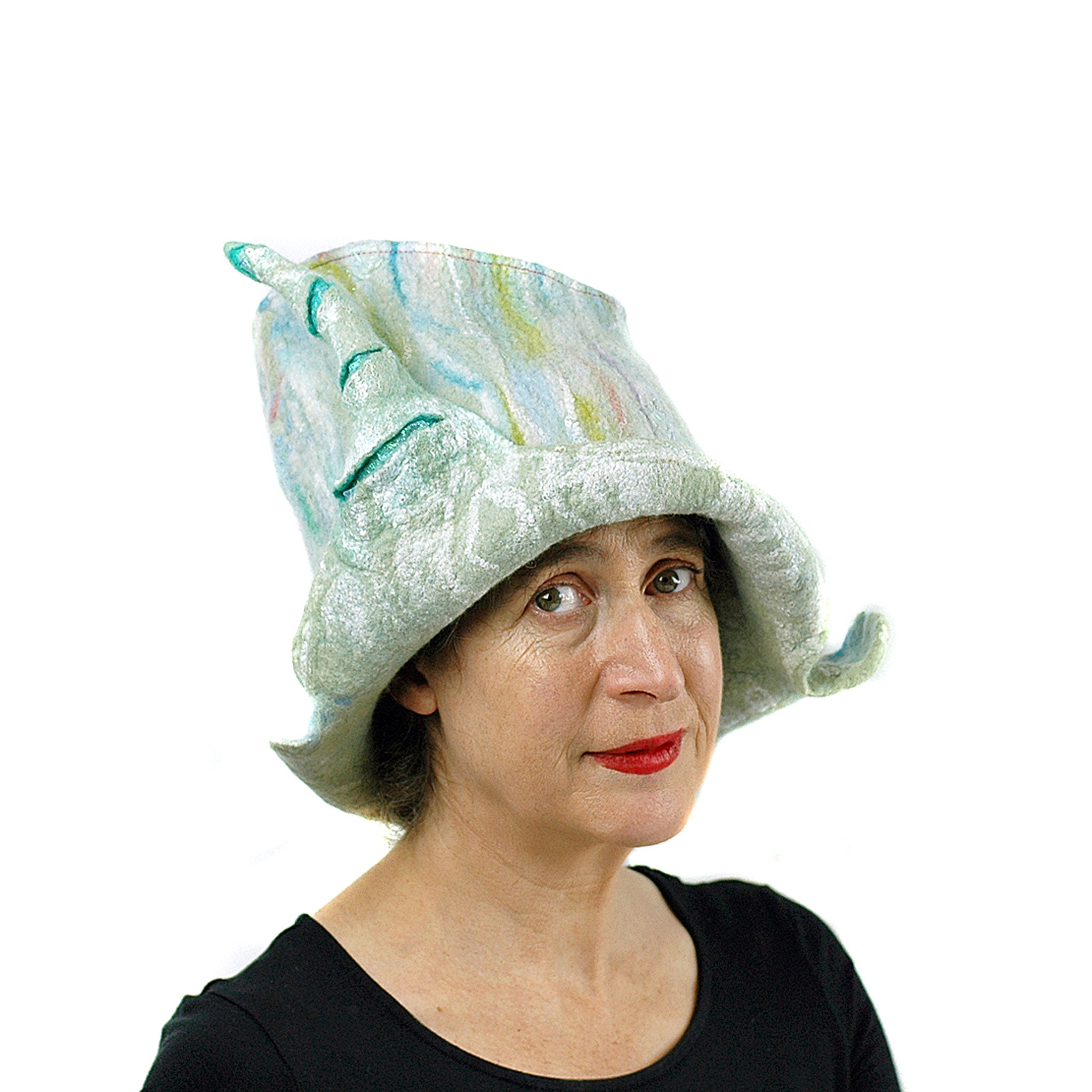 Pale Green Unicorn Fantasy Hat - front view